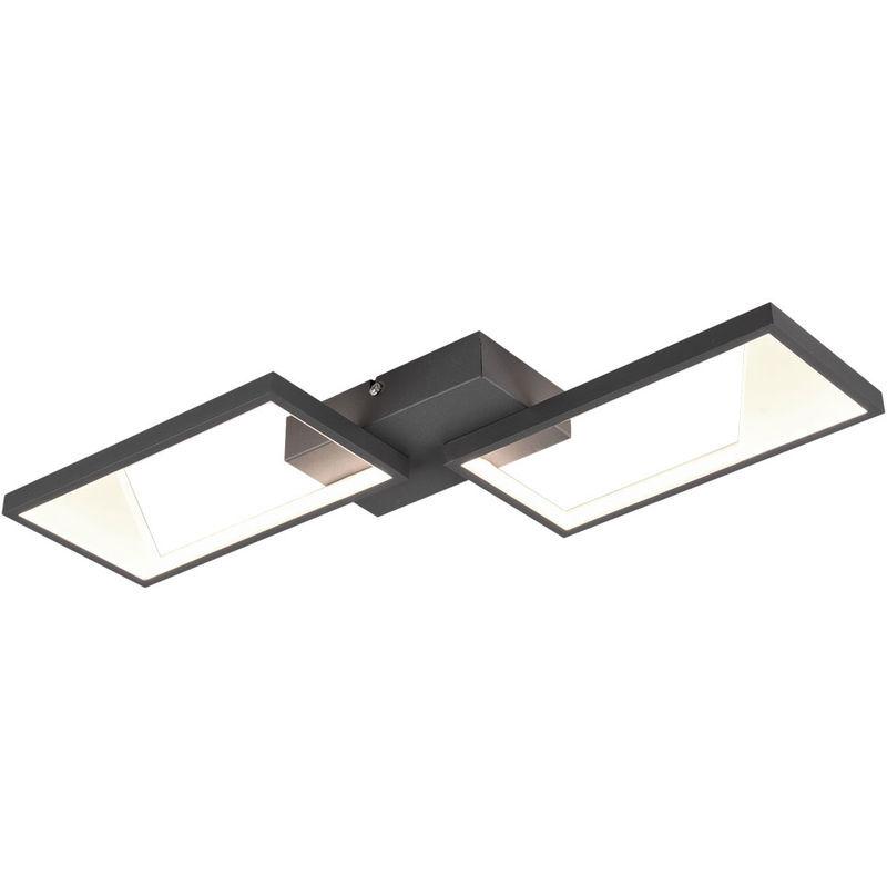 TRIO LEUCHTEN Plafonnier LED, anthracite, variateur d'interrupteur, L 53 cm, CAFU