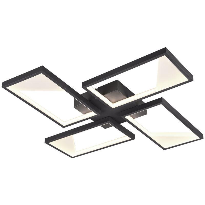 Trio Leuchten - Plafonnier LED, anthracite, variateur d'interrupteur, L 54 cm,