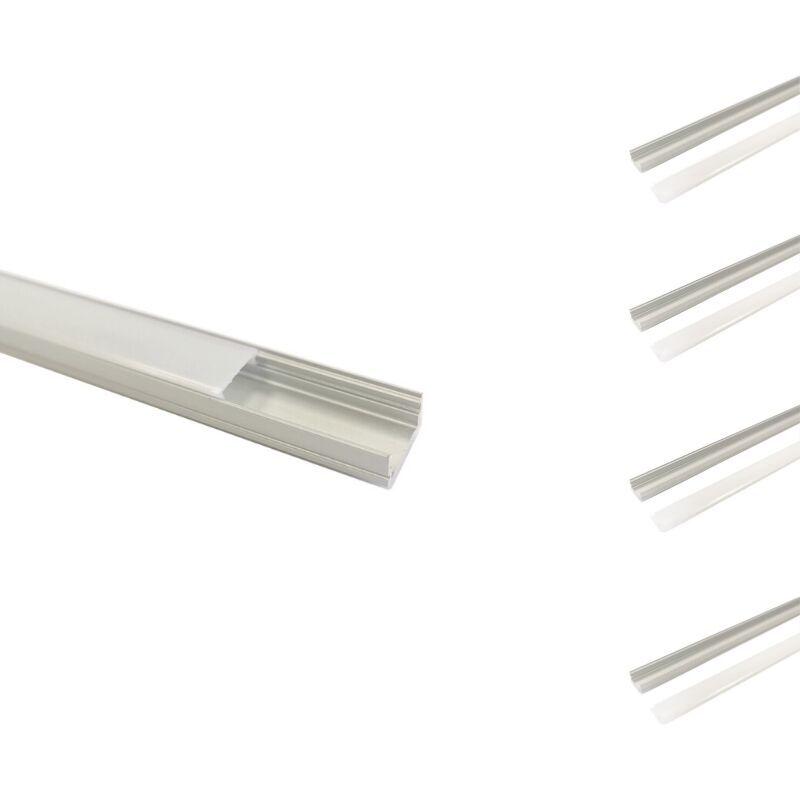 Silamp - Profilé Aluminium 2m pour Ruban LED Couvercle Blanc Opaque (pack de 5)