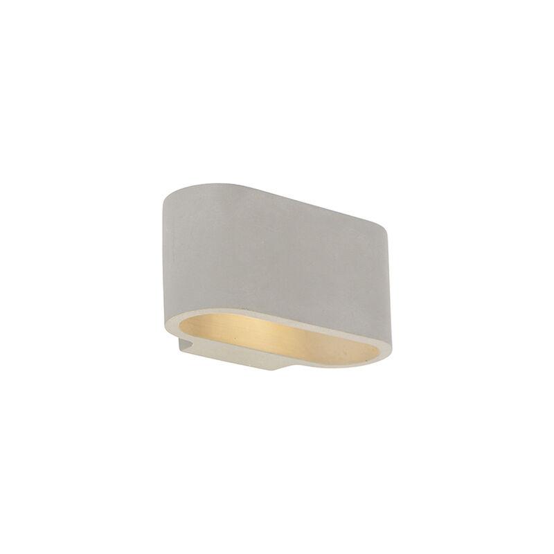 QAZQA Applique industrielle béton gris - Arles Industriel Luminaire interieur Ovale