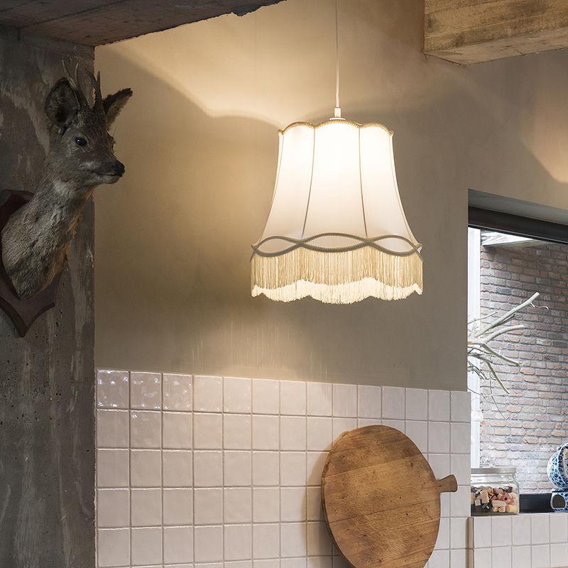 QAZQA Tissu Lampe suspendue Retro crème 45 cm - Mamie Retro Luminaire interieur Rond