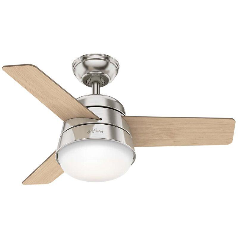 HUNTER FANS Ventilateur de plafond Finley nickel 91 cm avec éclairage