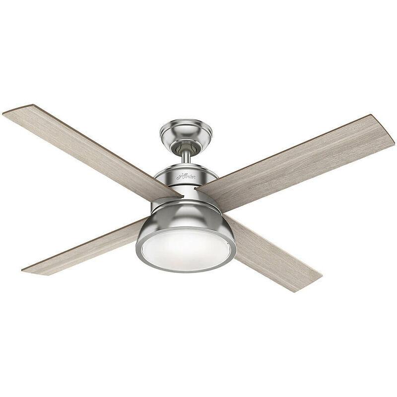 Hunter Fans - Ventilateur de plafond Loki Nickel 132 cm avec lumière