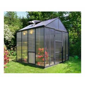 PALRAM Serre de Jardin GLORY 8x8 gris anthracite - 5.6m² - Publicité