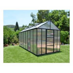 Palram - Serre de Jardin GLORY 8x16 gris anthracite - 11.8m² - Publicité