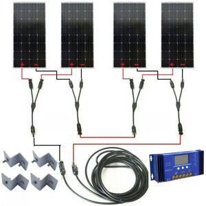 ECO-WORTHY KIT COMPLET 600WAT OFF GRID: Panneau solaire mono 4x160W pour caravane de - Publicité