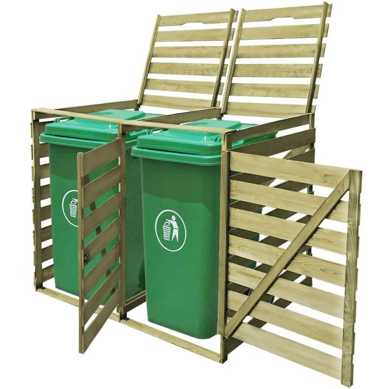 Ilovemono - Abri pour poubelle double 240 L Bois imprégné