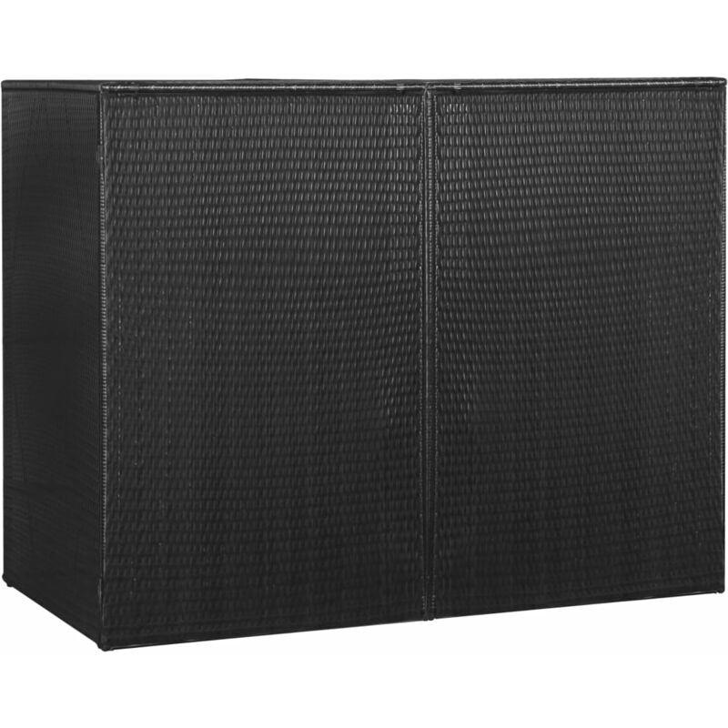 ILOVEMONO Abri pour poubelle double Noir 153x78x120 cm Résine tressée