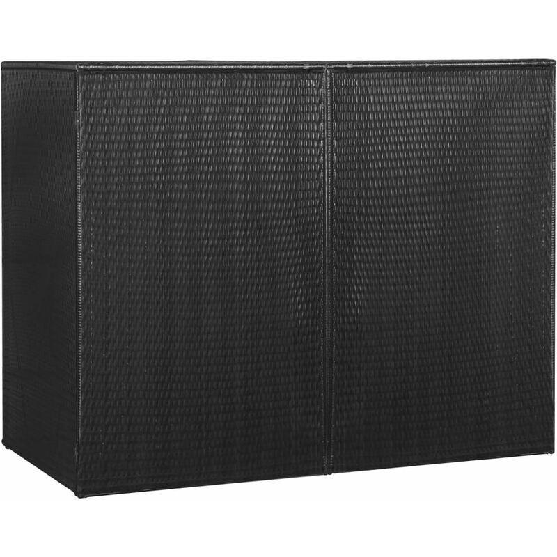 VIDAXL Perle rare Abri pour poubelle double Noir 153x78x120 cm Résine tressée