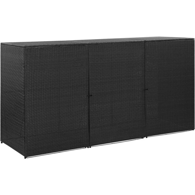 Ilovemono - Abri pour poubelle triple Noir 229x78x120 cm Résine tressée