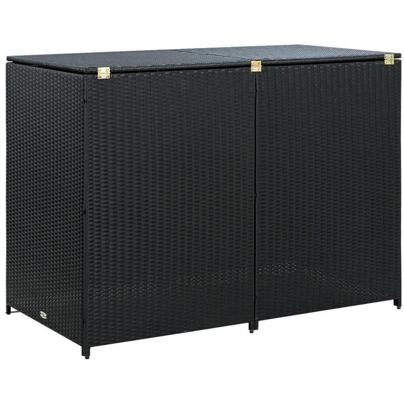 Ilovemono - Abris pour poubelle double Résine tressée Noir 148x80x111 cm