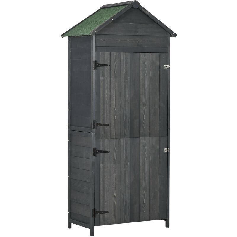 Outsunny Armoire abri de jardin remise pour outils 3 étagères 2 porte loquets toit pente