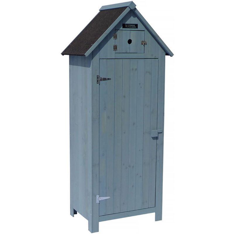HABITAT ET JARDIN Armoire de jardin 'Cabanon' - 77 x 54.5 x 179 cm - Bleu ciel
