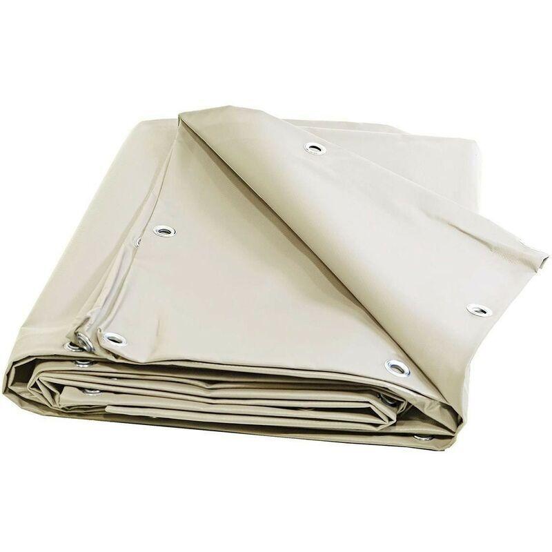 TECPLAST Bache 680 g/m² - 10 x 15 - Bache Ivoire - Baches PVC - Bache exterieur pour une