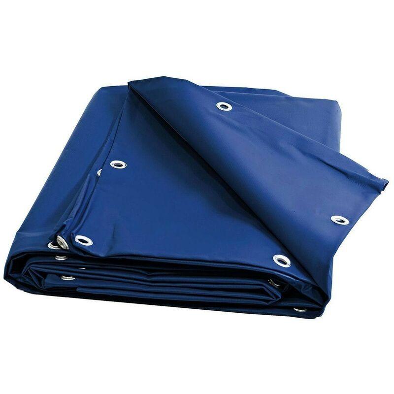 TECPLAST Bache 680 g/m² - 8 x 12 - Bache Bleue - Baches PVC - Bache exterieur pour une