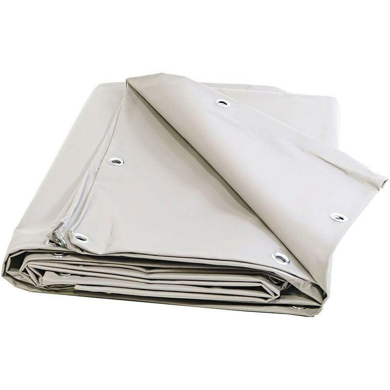 TECPLAST Bache 680 g/m² - 8 x 12 - Bâches Blanches - Bache PVC - Bache exterieur pour