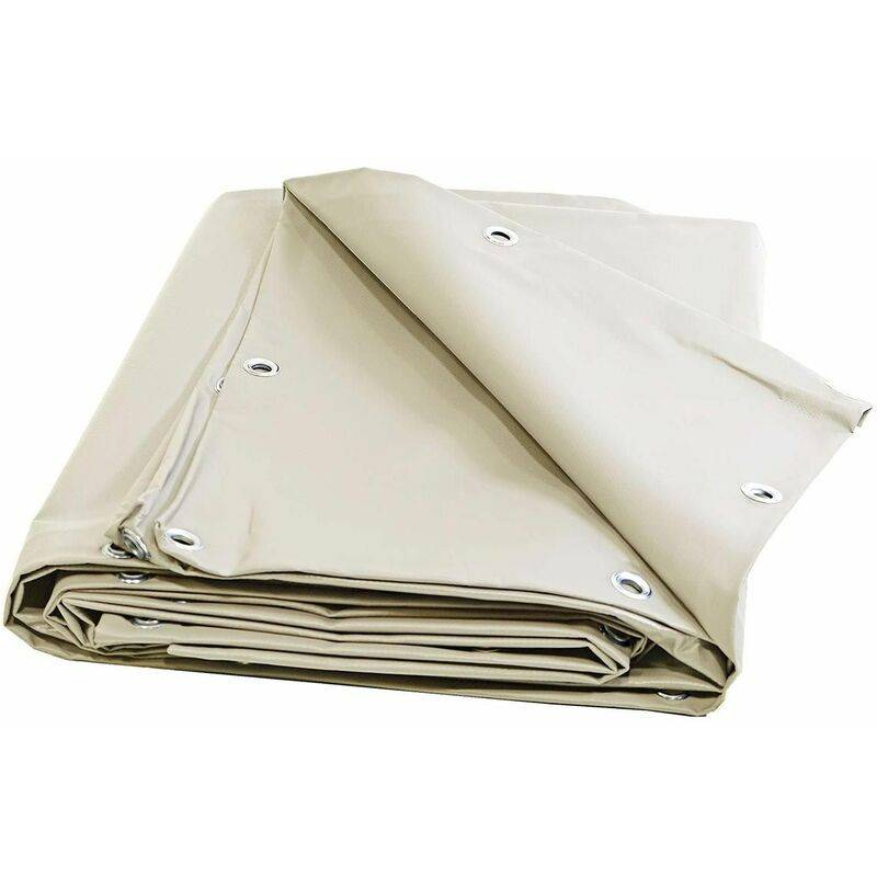 TECPLAST Bache 680 g/m² - 8 x 9 - Bache Ivoire - Baches PVC - Bache exterieur pour une