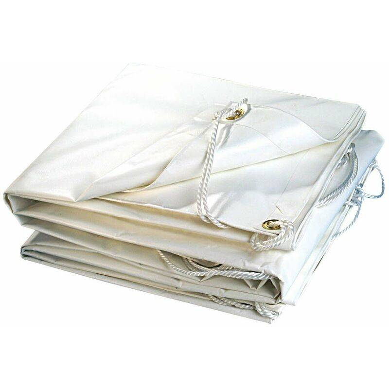 TERRE JARDIN Bâche plastique PVC blanche 300g/m2 5 x 8