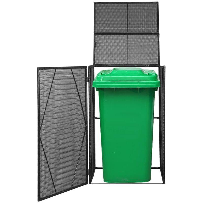 Vidaxl - Abri pour poubelle à roulettes Résine tressée 76x78x120 cm Noir