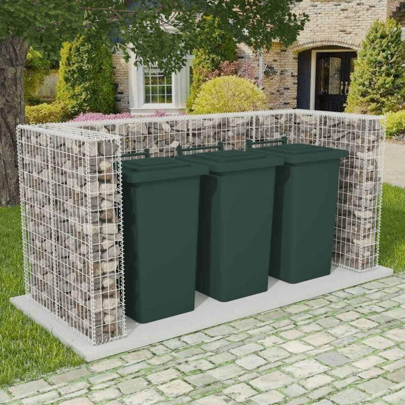Ilovemono - Cadre de gabion de poubelle triple Acier 250 x 100 x 120 cm