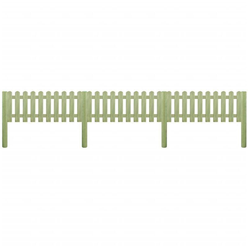 ILOVEMONO Clôture à piquets Bois de pin imprégné 5,1 m 110 cm 6/9 cm