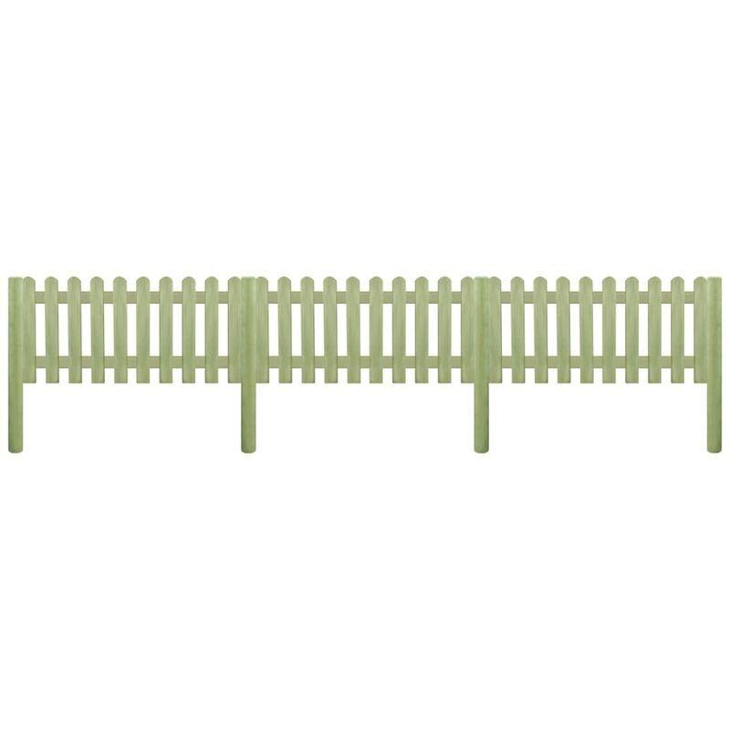 ILOVEMONO Clôture à piquets Bois de pin imprégné 5,1 m 130 cm 6/9 cm