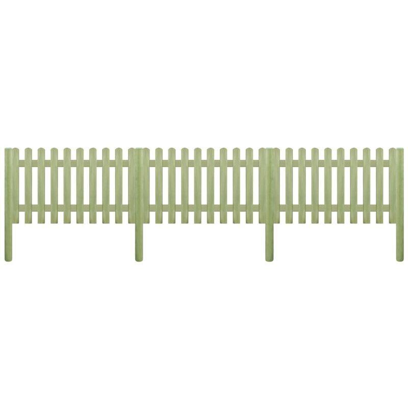 ILOVEMONO Clôture à piquets Bois de pin imprégné 5,1 m 150 cm 6/9 cm