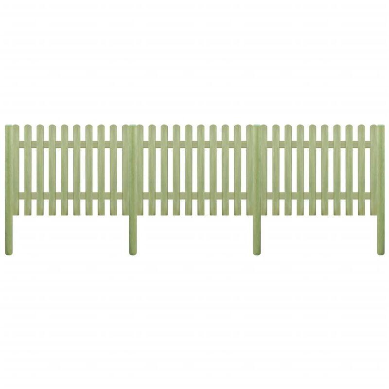 ILOVEMONO Clôture à piquets Bois de pin imprégné 5,1 m 170 cm 6/9 cm