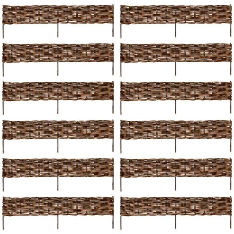 VIDAXL Clôture Jardin en Saule Très Bonne Qualité 12 pcs 120 x 35 cm