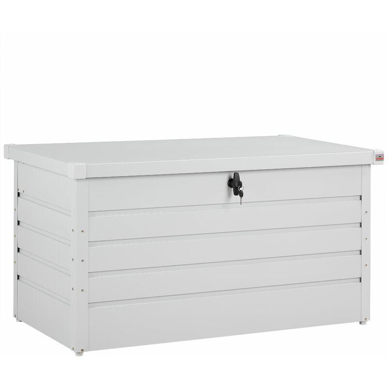 GARDEBRUK Coffre de rangement tôle d'acier blanc 120x62x63cm verrouillable 2 clés jardin