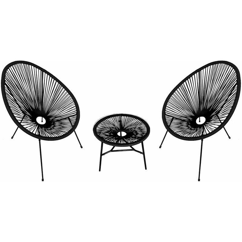 HAPPY GARDEN Ensemble de 2 fauteuils œuf + table ACAPULCO noir - Noir