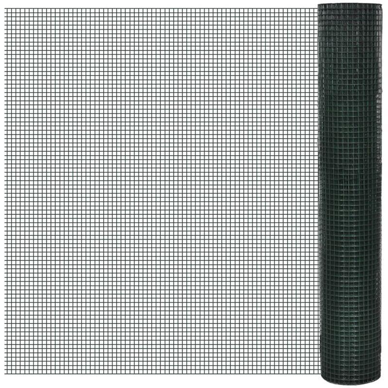 VIDAXL Grillage Acier galvanisé et revêtement en PVC 25 x 1 m Vert