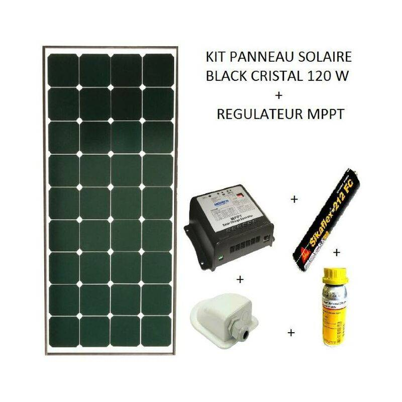 ANTARION Kit panneau solaire 120w pour camping car Black booster - Antarion