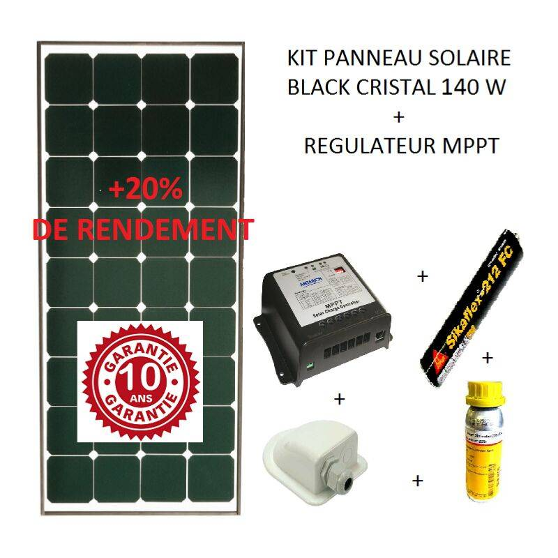 ANTARION Kit panneau solaire 140w pour camping car Black booster - Antarion