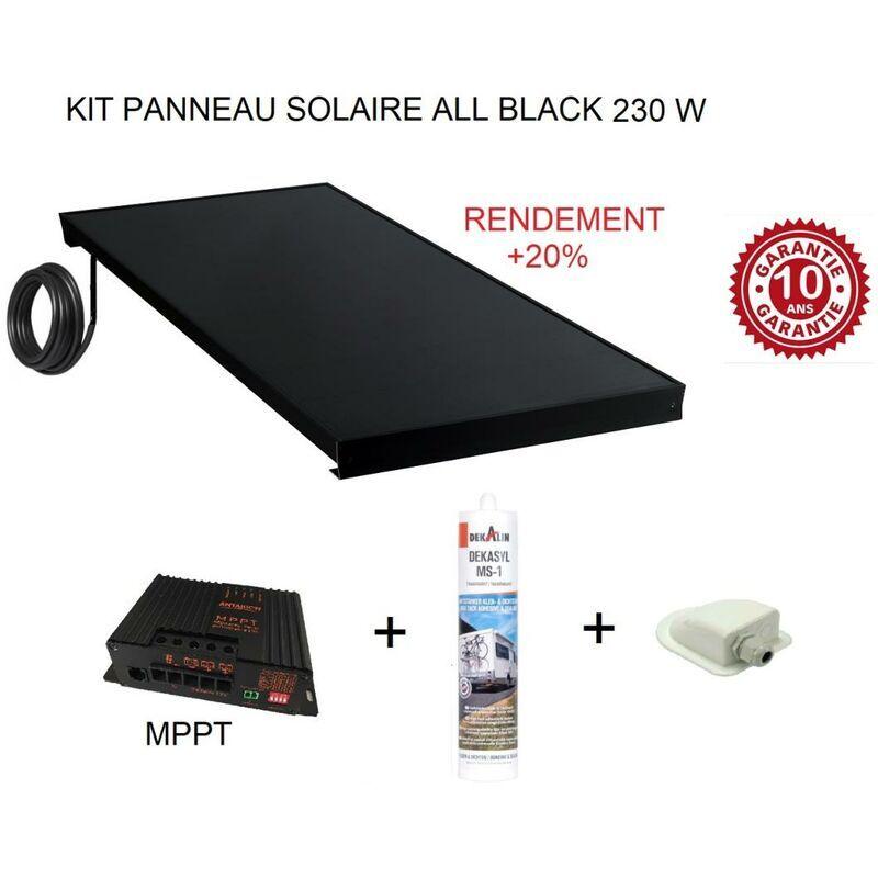 ANTARION Kit panneau solaire 230 W pour camping car ALL BLACK +20% - Antarion