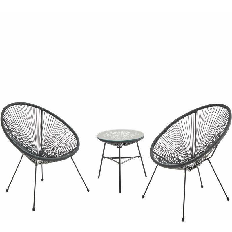 ALICE'S GARDEN Lot de 2 fauteuils ACAPULCO forme d'oeuf avec table d'appoint - Noir