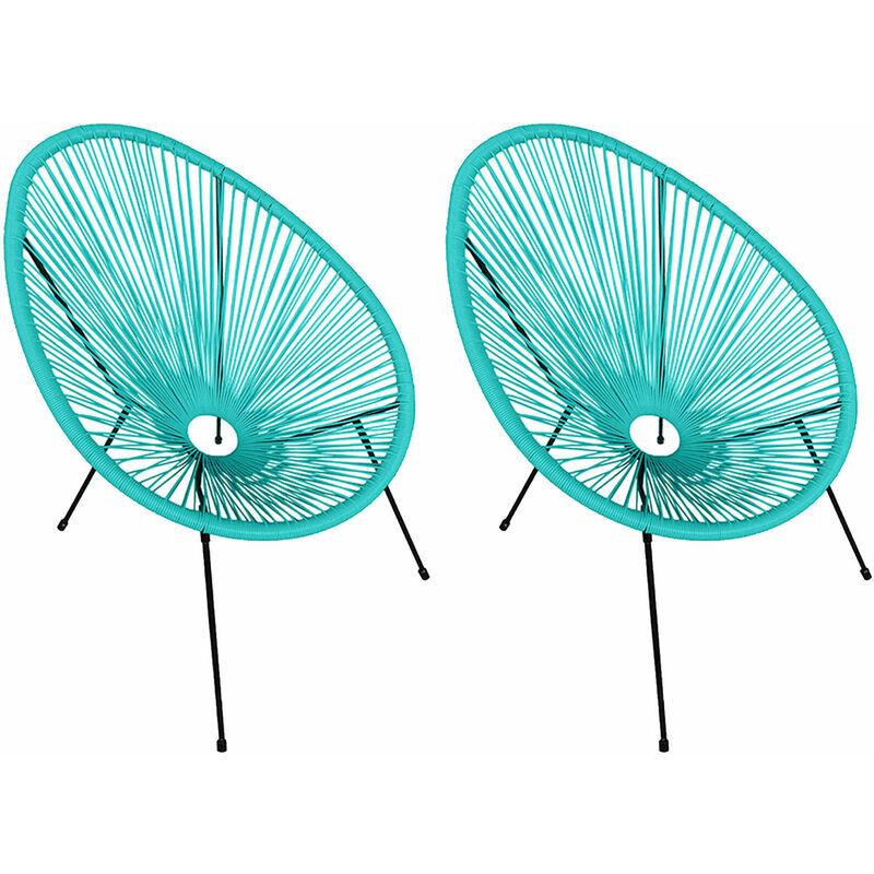 HAPPY GARDEN Lot de 2 fauteuils œuf ACAPULCO aqua - Bleu