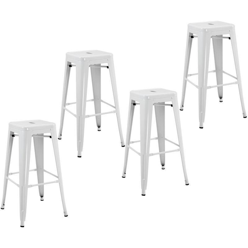 Homcom - Lot de 4 tabourets de bar industriel empilables hauteur assise 76 cm