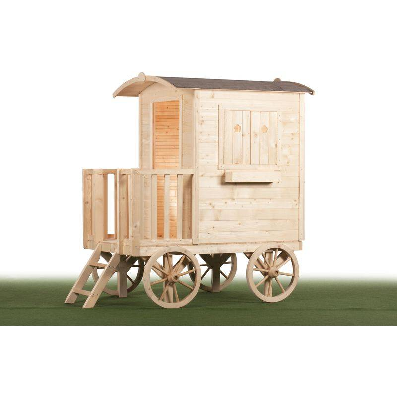 Aloya - Maison roulotte pour enfant - Bois naturel - Tout inclus