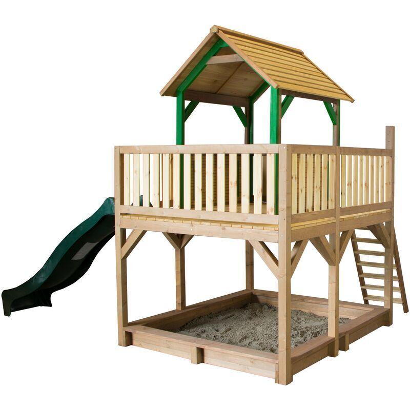 AXI Atka Maison Enfant avec Bac à Sable & Toboggan vert   Aire de Jeux pour