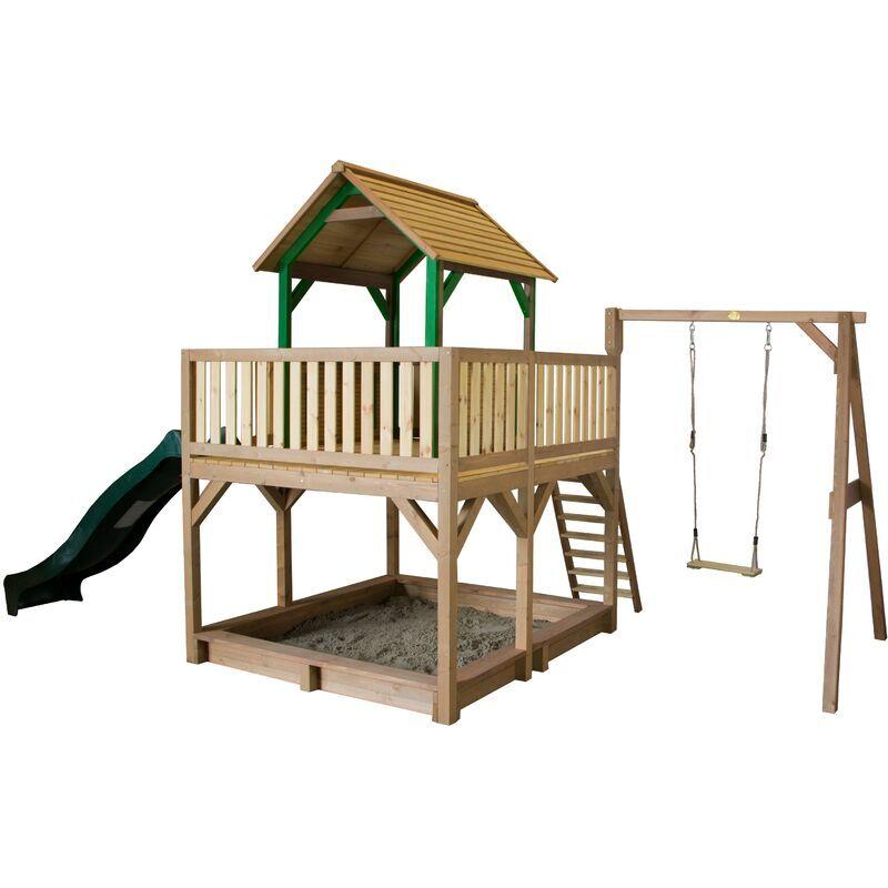 AXI Atka Maison Enfant avec Bac à Sable, Balançoire & Toboggan vert   Aire de