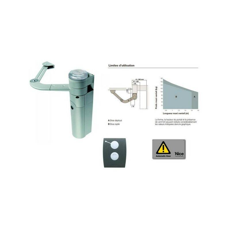 NICE Kit d'automatisation bras articulé portail 1 battant env. 1,8m WALKY KIT Nice