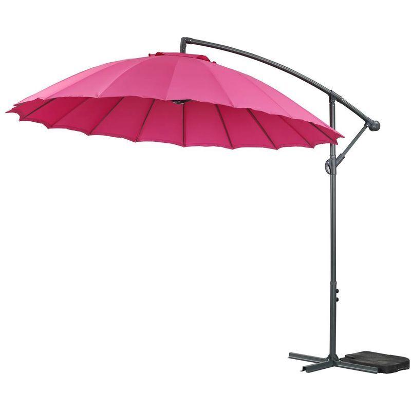 HABITAT ET JARDIN Parasol jardin déporté Alu 'Lili 3' - Style Japonais - Ø3m - Rose