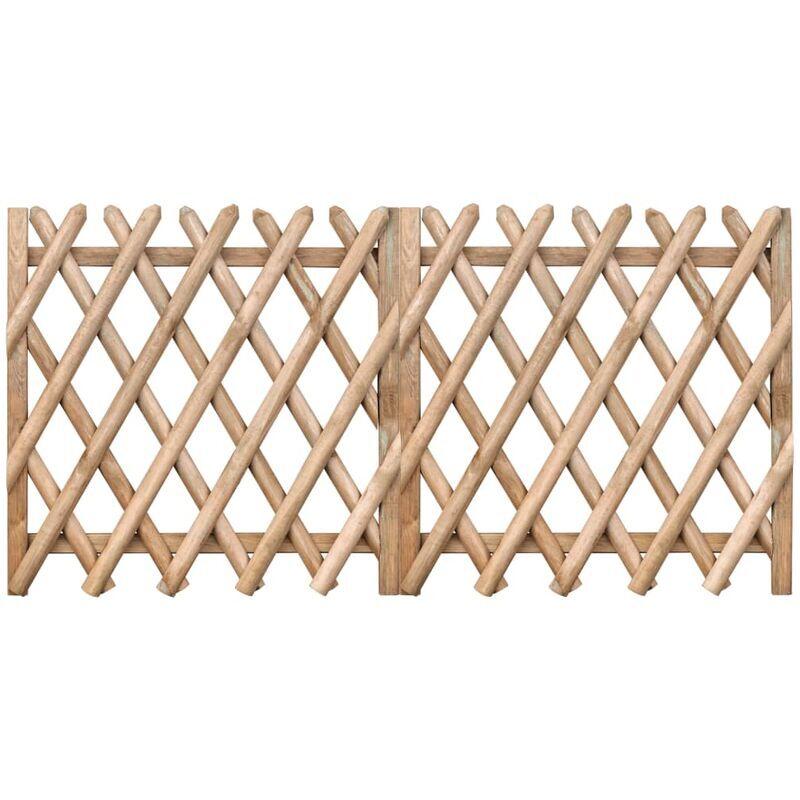 VIDAXL Portillons de jardin 2 pcs Bois de pin imprégné 300x100 cm