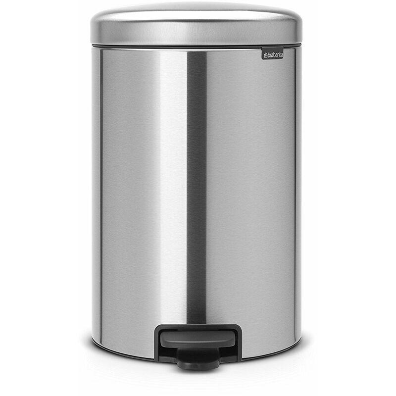 BRABANTIA poubelle à pédale 20l matt steel - 114021 - Brabantia