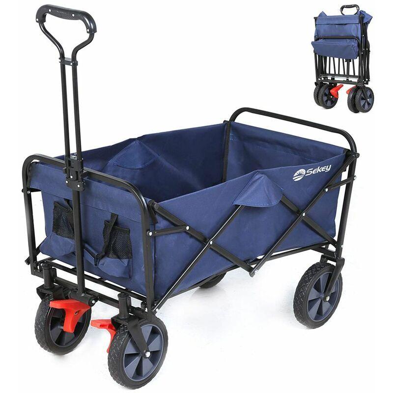 Sekey Chariot de jardin pliable avec freins Charrette pliable Charrette à main