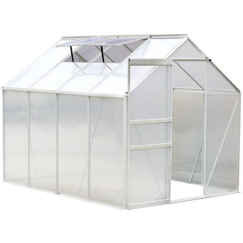 Outsunny Serre de jardin aluminium polycarbonate 9,17 m³ 2,5L x 1,9l x 1,93H m avec