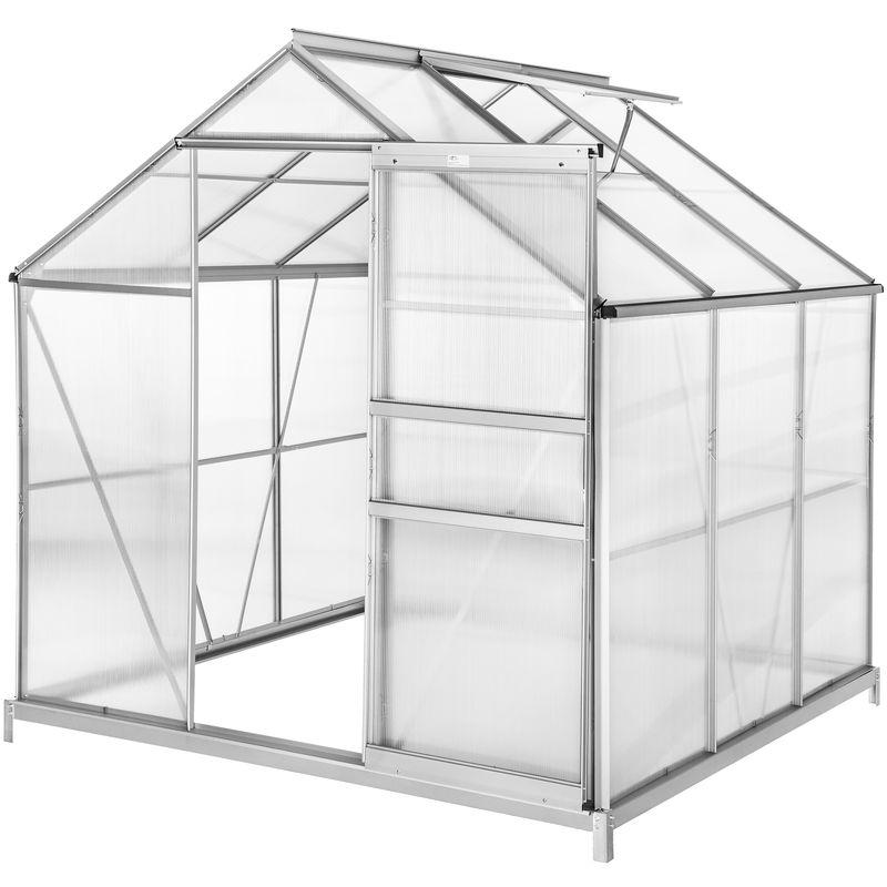 TECTAKE Serre de Jardin Polycarbonate 3,7 m² + 1 Embase en Acier