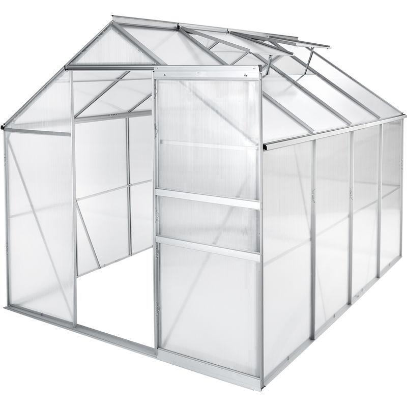 TECTAKE Serre de Jardin Polycarbonate 4,41 m² + 2 Lucarnes