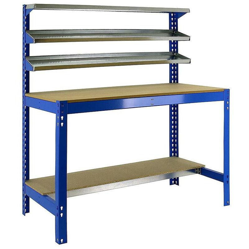 Simon Rack - SimonRack - Etabli métal/bois bleu 1440x1200x600 - SIMONWORK BT1